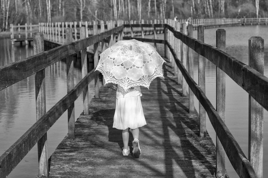 Black And White Black And White Photography Blackandwhite Girl Girl Walking On Path. Lace Umbrella Little Girl Parasol Sun Umbrella