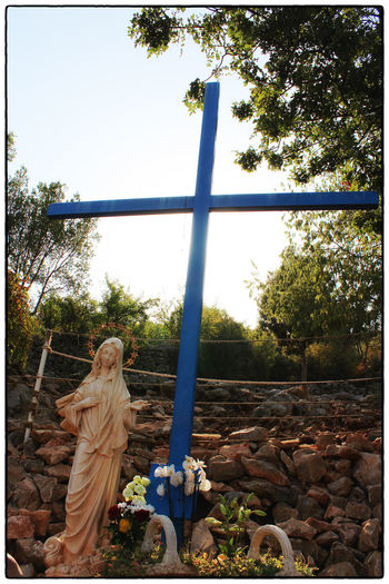 Medjugorje... Croce Blu Medjugorje Medugorje Blue Cross Clear Sky Cross Day Nature Outdoors Plant Religion Sky Tree