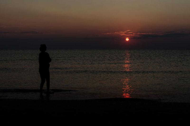 Mare ❤ Alba Adriatic Sea Silhouette Scuro Cloud - Sky Luna Rossa Mood