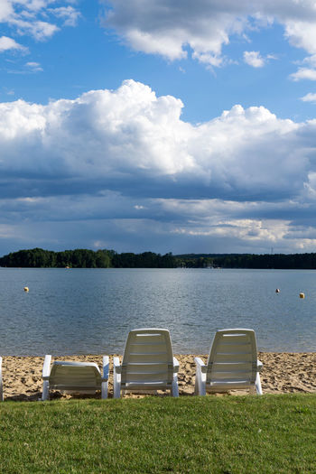 Absence Beauty In Nature Cloud Cloud - Sky Cloudy Day Empty Grass Grassy Green Color Growth Idyllic Lake Lakeshore Landscape Nature No People Outdoors Relaxation Remote Scenics Sky Tranquil Scene Tranquility Water