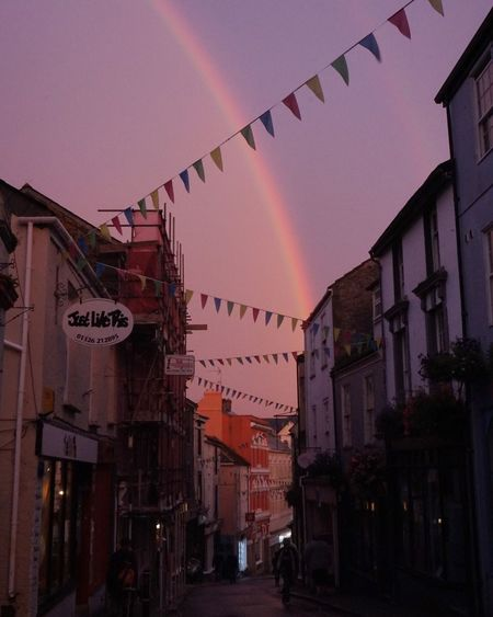 Rainbow Rainy Days England Cornwall Smalltown RainyDay High Street Vintage Style Pink Color United Kingdom Eyeemphoto