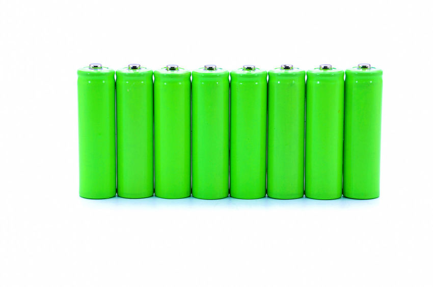 green batteries over white background Alkaline Batteries Battery Electrolite Energy Fuel Cell Power Rechargeable