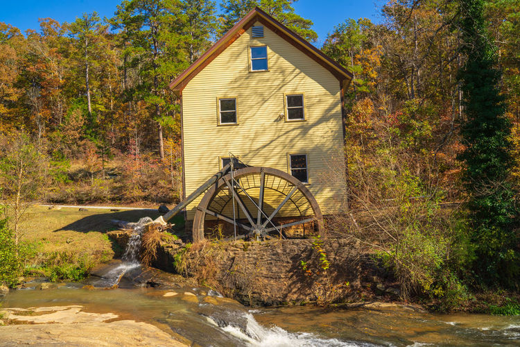 Built Structure Water Architecture Building Exterior Nature No People Tree Plant Building Transportation Water Wheel House Autumn Day Motion Watermill Outdoors Wheel Lake Flowing Water Change Old Watermill
