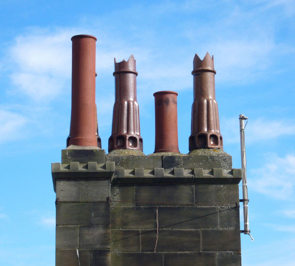 Architecture Blue Building Exterior Built Structure Chimney Chimney Pots Clay Clouds Exterior Old Outdoors Sky Terracotta