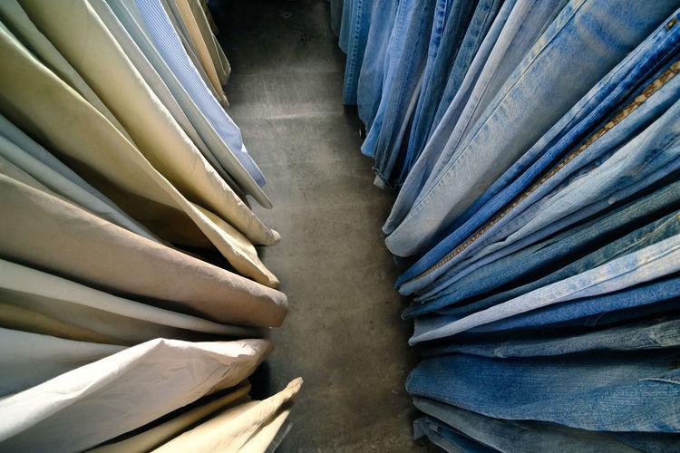 Full frame shot of blue jeans for sale