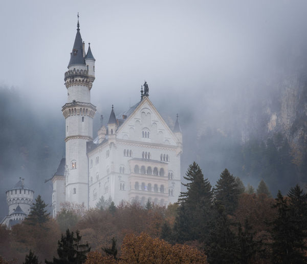 Neuschwanstein Castle with Autumn colors, Fussen, German Tree Architecture Plant Built Structure Building Exterior Building Sky Religion Fog Nature Belief Spirituality Place Of Worship No People The Past History Travel Destinations Outdoors Change Spire