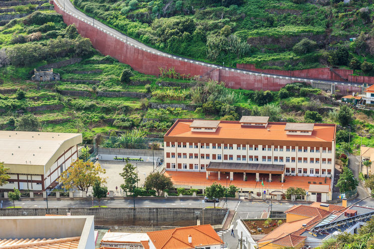 Madeira Island Road Architecture Beauty In Nature Building Exterior Built Structure Day High Angle View Nature No People Outdoors Roof Santa Cruz School Tree Water