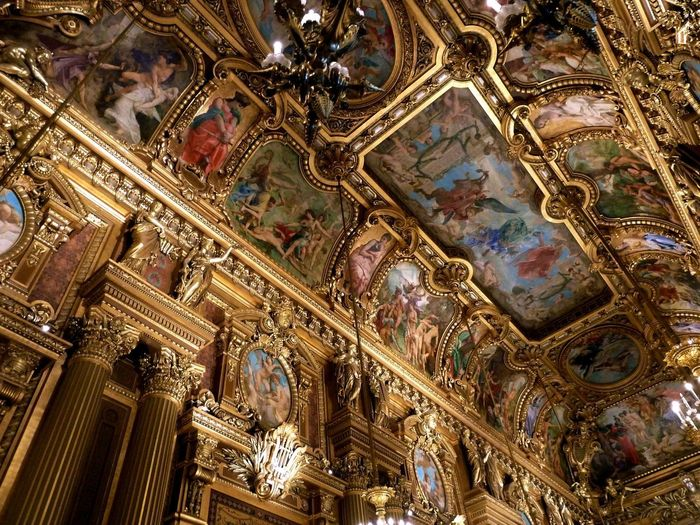 A ceiling inside the Palais Garnier opera house in central Grand Foyer is one of the most ornate sights in the world, a mix of gold, wood, stone and magnificent 19th century art. Paris Paris, France  No People EyeEmNewHere Travel France Indoors  Architecture Built Structure Art And Craft Baroque Style Low Angle View Travel Destinations Carving Ornate History Decoration Ceiling Mural Opéra Opera House Gold Painting Palais Garnier Palais Garnier Opera House