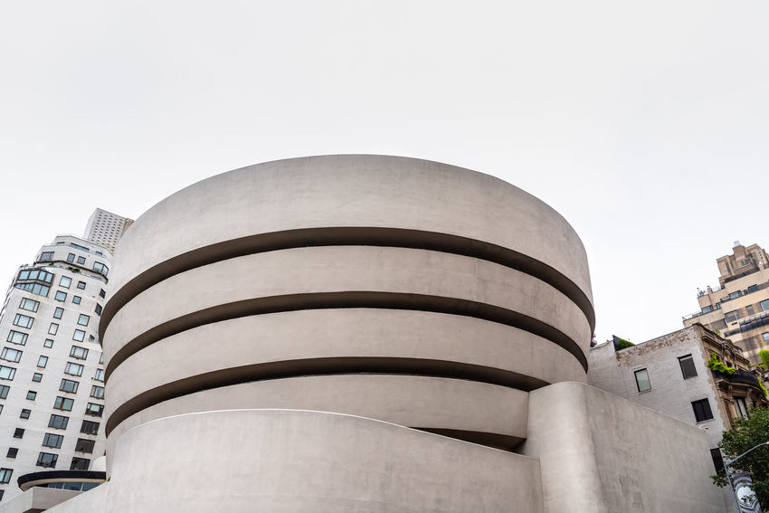 Solomon R. Guggenheim Museum in New York Architecture Day Manhattan NYC NYC Street Photography America American Architecture Solomon R. Guggenheim Museum Museum Frank Lloyd Wright Frank Lloyd Wright Architecture Guggenheim Guggenheimmuseum Guggenheim Nyc Travel Travel Destinations Tourism Tourist Attraction  Built Structure Building Exterior Sky City Building Low Angle View Nature Clear Sky No People Outdoors Office Building Exterior Tower Tall - High Modern Skyscraper Copy Space