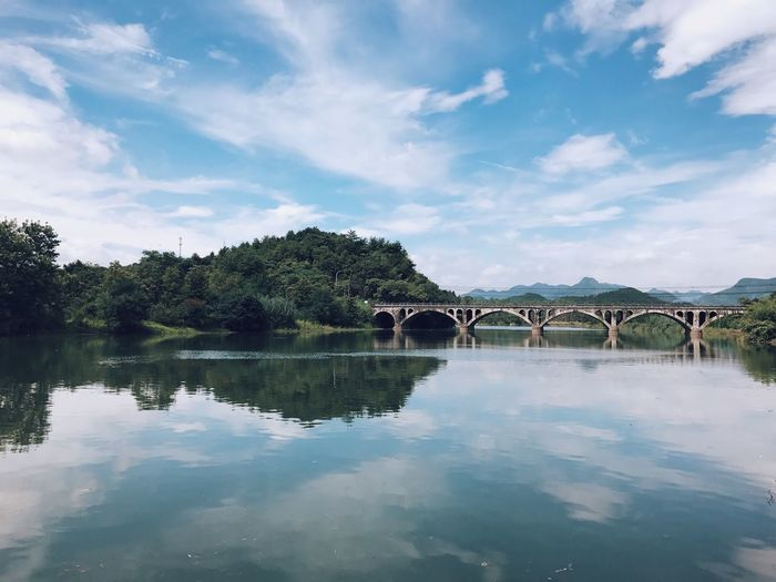Scenic view of bridge over water against sky