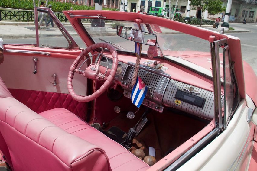 Cuba Cuban Flag Havana Patriotism Cabrio Cabriolet Car Interior Cuban Cars Flag Land Vehicle Mode Of Transport No People Old Car Pink Car Steering Wheel Transportation Vehicle Seat Vintage Cars Been There. This Is Latin America