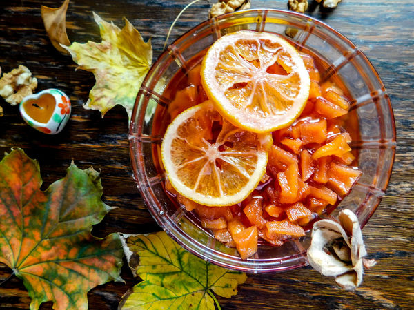 Autumn ideal Autumn Nuts Background Close-up Decoration Fall Food Food And Drink Freshness Fruit Healthy Eating High Angle View Ideal Life Indoors  Leaf Leaves No People Nut - Food Orange Color Quince Sweet Table Wooden Yellow