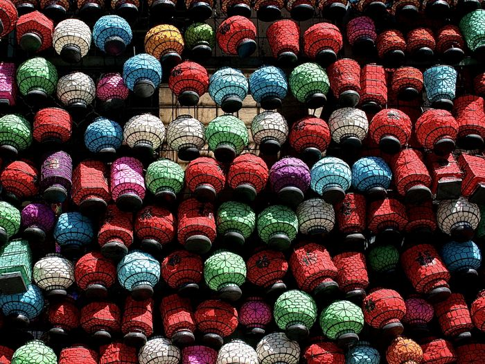 Full frame shot of multi colored chinese lanterns for sale