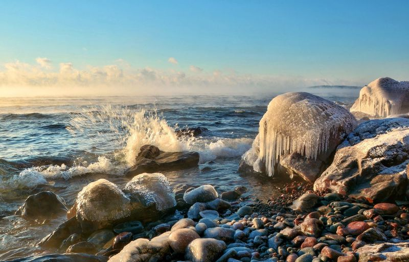 Lake Superior morning Sea Nature Beach Sky Water Beauty In Nature Rock - Object Tranquil Scene Tranquility Horizon Over Water Scenics Wave No People Outdoors Day Malephotographerofthemonth Lake Superior Minnesota EyeEm Nature Lover EyeEm EyeEm Best Shots Waves Crashing