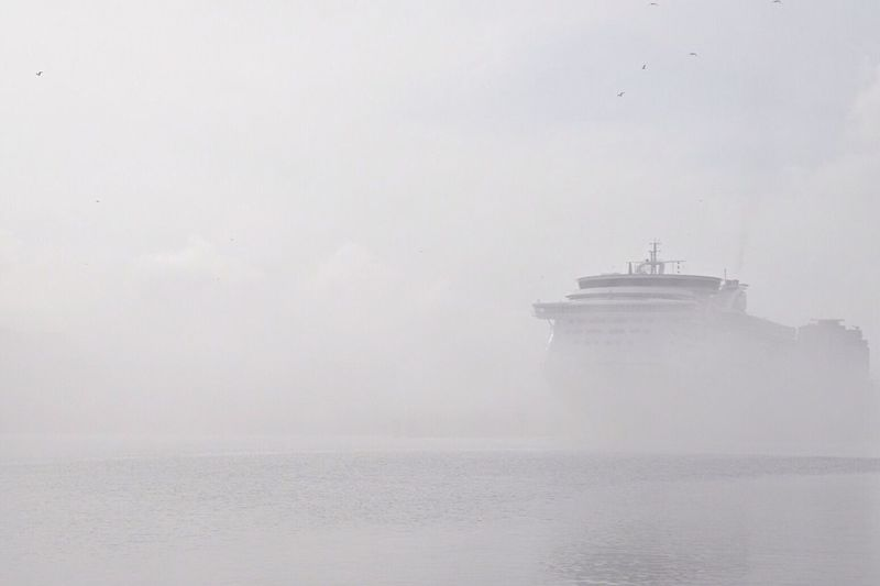 Cruise ship sailing in sea during foggy weather