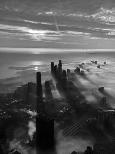 Fogscape Chicago Chicago Chicago Architecture Cloud - Sky Sky Building Exterior Architecture Built Structure City No People Cityscape Building High Angle View Office Building Exterior Water Aerial View Skyscraper Outdoors Day Sea Tall - High Horizon Over Water Fog Foggy Foggy Morning Focus On Foreground Blackandwhite Black And White Black & White Urban Skyline Urban Landscape Architecture Architectural Column Architecture_collection
