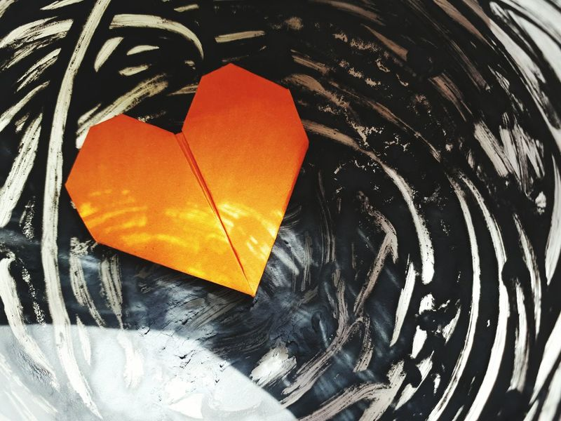 Heart Shape Indoors  No People Day Beauty In Nature Summer Reality Is The Only Word In The Language That Should Always Be Used In Quotes Black Background Black Color Orange Colour Thinking Happiness Love♡ Lover Not A Fighter Heartbeat