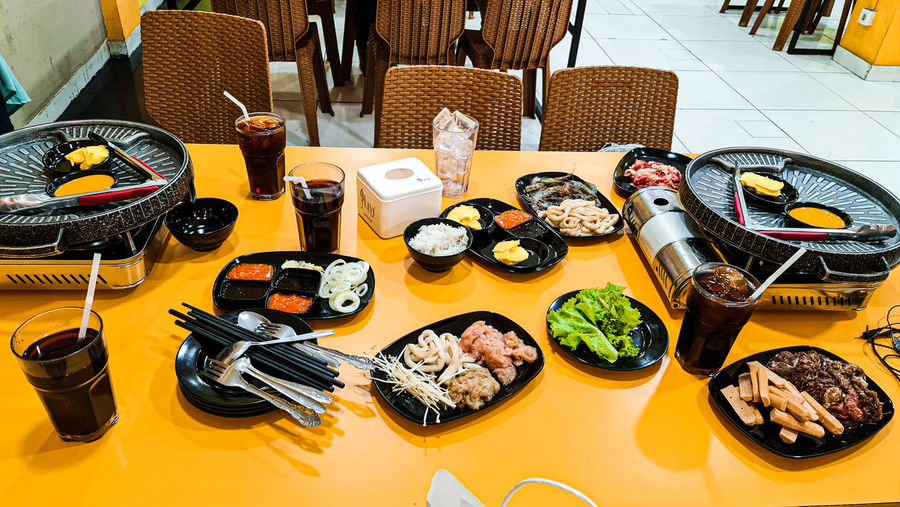 High angle view of food on table in restaurant