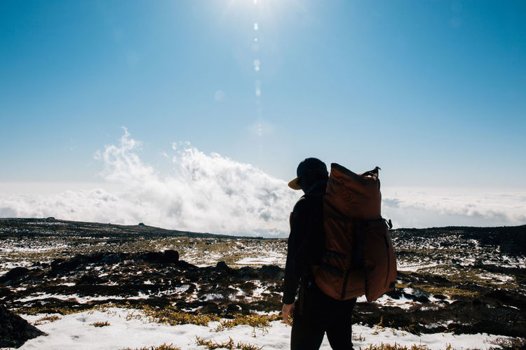 Be. Ready. Cold Temperature Hiking Landscape Lifestyles Mountain Nature One Person Outdoors Sky Snow Standing Sun Sunlight Winter