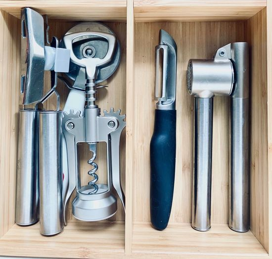 Close-up Still Life Choice No People Hand Tool Table Tool Wood - Material Variation Equipment Group Of Objects Metal Kitchen Utensil Cooking Kitchen kitchen utensils Spin Corkscrew IKEA Bottle Opener Screw Steel