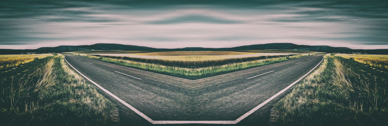 Surrealistic double road Mirrored Nature Road Abstract Beauty In Nature Cloud - Sky Day Fantasy Landscape Mountain Nature No People Outdoors Road Rural Scene Scenics Sky Street Sunset Surreal Surrealism Surrealism And Fantasy Art Symmetrical Symmetry The Way Forward