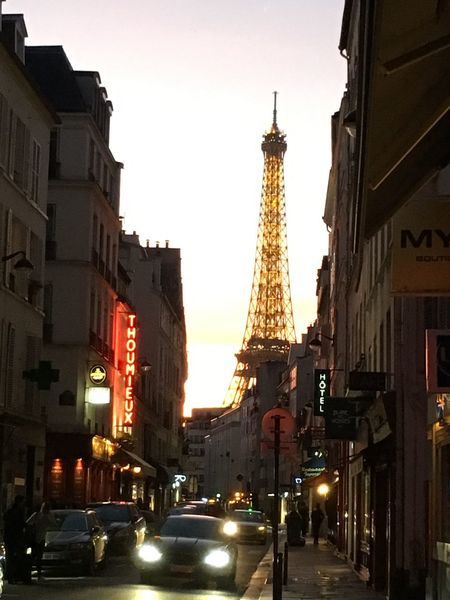 Architecture Illuminated Eiffel Tower Street Photography