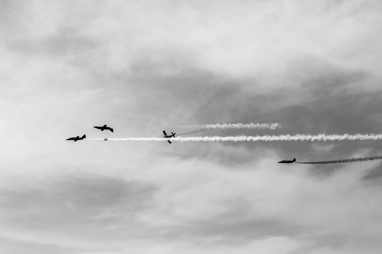 Air Vehicle Cloud - Sky Airplane Flying Airshow Sky Mode Of Transportation Transportation on the move Plane Motion Low Angle View Mid-air Cooperation Teamwork Fighter Plane Vapor Trail Military Airplane Smoke - Physical Structure Day No People Outdoors Order Aerobatics Blackandwhite Black And White Black & White Skyporn Skyporn Competition Clouds Clouds And Sky