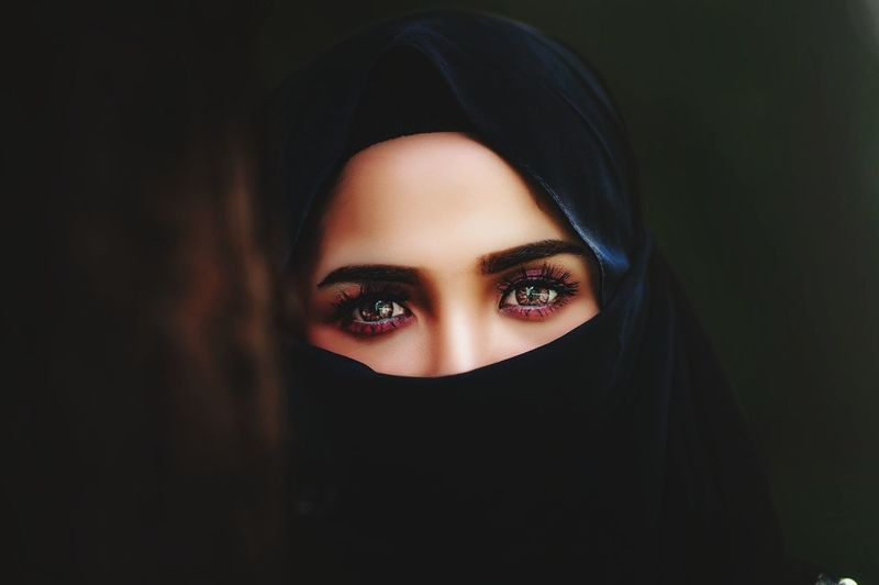 Close-up portrait of young woman wearing burkha