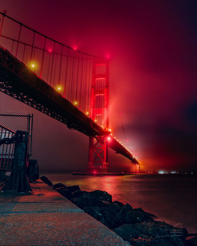 Golden Gate Bridge San Francisco Golden Gate Bridge Night Foggy Red Redlight California Bridge City Water Illuminated Urban Skyline Red Sea Nightlife Business Finance And Industry Cityscape Awe