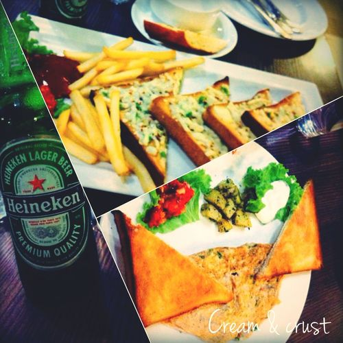 What's For Dinner? @cream And Crust Yummy Vegeomlette Garlic Bread and Beer Picture Layout Diagonal Layout