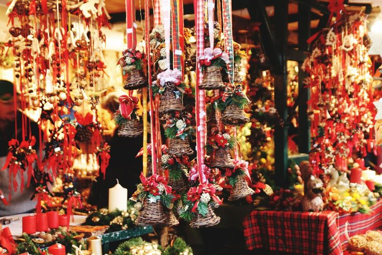 Christmas decorations for sale in store
