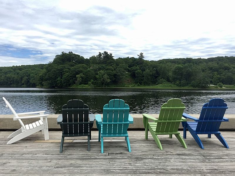 Tree Water Lake Chair Sky Tranquil Scene Green Color Nature Relaxation Outdoors Tranquility Cloud - Sky Vacations Scenics Summer No People Day Beach Landscape Pedal Boat