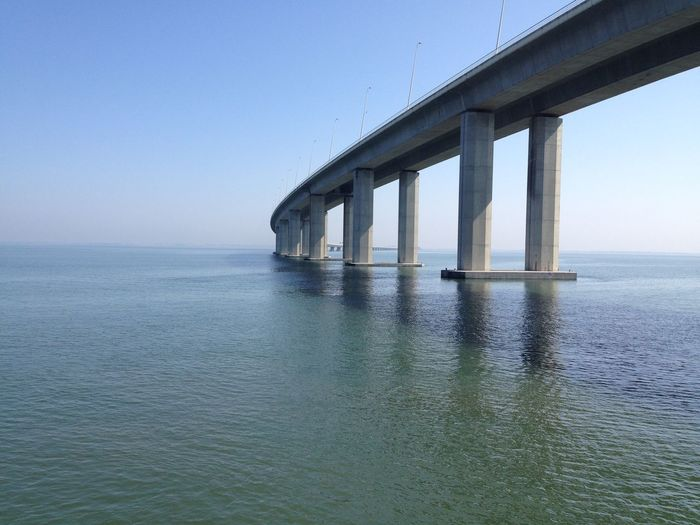 Low Angle View Of Vasco Da Gama Bridge Over Tagus River Against Clear Sky