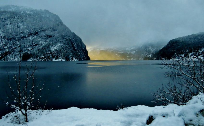 Beauty In Nature Cold Cold Temperature Day Fjords Fog Frozen Ice Landscape Modal Modalen Mountain Nature Norway Outdoors Scenics Sky Snow Tranquil Scene Tranquility Water Weather Westernnorway Winter