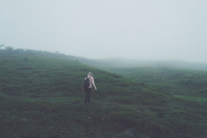 "So grateful for being chosen as one of the ""welcome weekly""! Wanderlust Travel Alone No Destination Walk Endless Solitude Tranquil Scene Scenics Fog Green Color Hill People And Places"