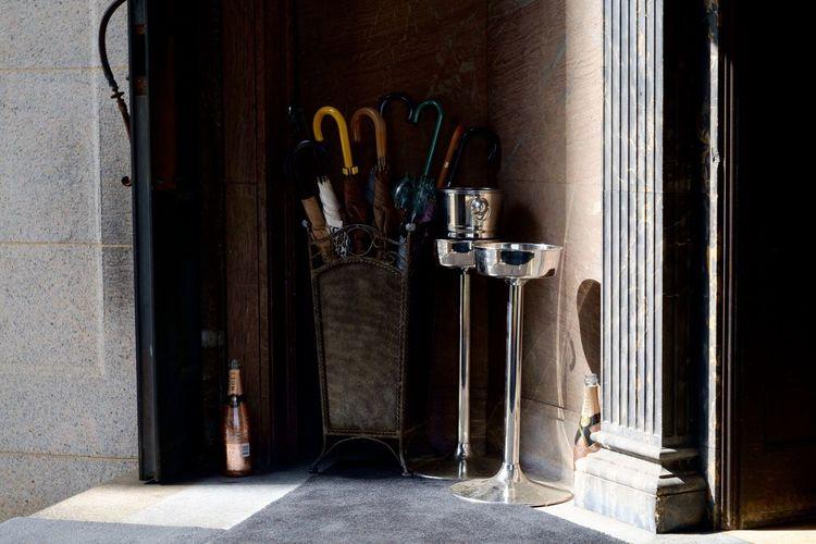 Umbrella Umbrellas Moet & Chandon Champagne Umbrella☂☂ Umbrella Stand Old Buildings Light And Shadow Street Photography Streetphotography Ice Bucket Retro Building Kobe, Japan Restaurant Old Door Doors