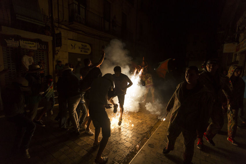 Besties a les festes de Sant Roc 2016 Arts Culture And Entertainment Besties Catalonia Catalunya Culture Dance Fire Firerun Firework - Man Made Object Fireworks Men Night Nightlife Outdoors Party Sant Roc Smoke Smoke - Physical Structure Spectator Street Traditional