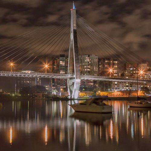 Did you know that The Anzac Bridge is on the other side of the famous Harbour Bridge ? - Sydney Hidden Gems  Bridge Traveling Travel Night Nightphotography Tones Check This Out EyeEm Best Shots Long Exposure Night Lights Night Photography View Bridge View Beauty Hello World City Urban Geometry Sydney Australia ANZAC Bridge Square