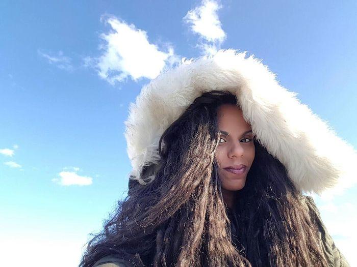 Selfie ✌ Winter Self Portrait Thats Me  Clouds And Sky Blue Sky Looking At Camera Woman Black Woman Sunlight Long Hair Curly Hair Woman Portrait Sardegna Sardinia Cloud - Sky Cloud Uniqueness The Portraitist - 2017 EyeEm Awards