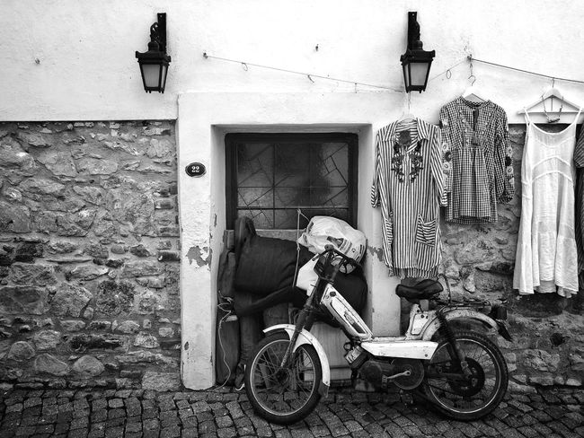 Moped Built Structure Building Exterior Architecture Day Outdoors No People Smartphonephotography Blackandwhite Streetphotography Moped Rural Scene The Street Photographer - 2017 EyeEm Awards