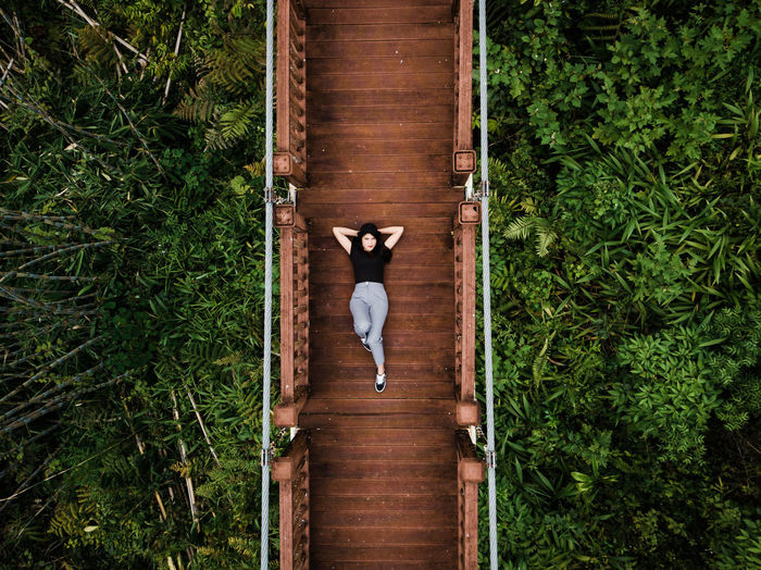 Directly above portrait of woman lying on footbridge over trees in forest