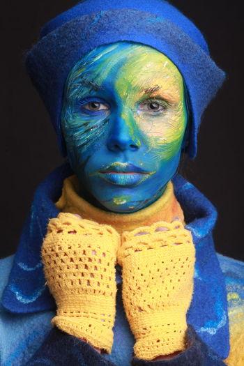 Indoors  Blue Portrait Art And Craft Creativity Van Gogh Vangogh Van Gogh Inspiration Starry Night Starrynight Bodyart Face Paint Makeup Multi Colored Close-up Studio Shot