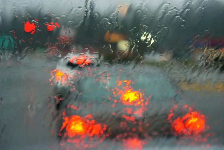 Full Frame Shot Of Car Windshield During Monsoon