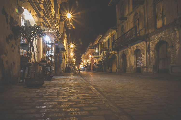 Architecture Building Exterior Built Structure City Crisologo Street Illuminated Ilocos Ilocos Norte, Philippines  Live For The Story Night No People Outdoors Sky The Way Forward Vigan Vigan Philippines