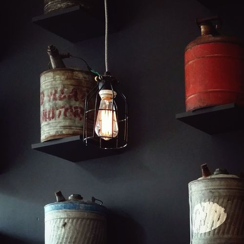 Hanging Lighting Equipment Indoors  Illuminated Electricity  No People Antique Oil Lamp Home Interior Antler Coffee Shop Gas Cans