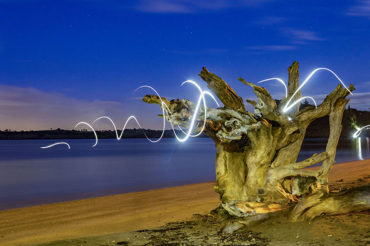 View of sculpture by sea against sky at night