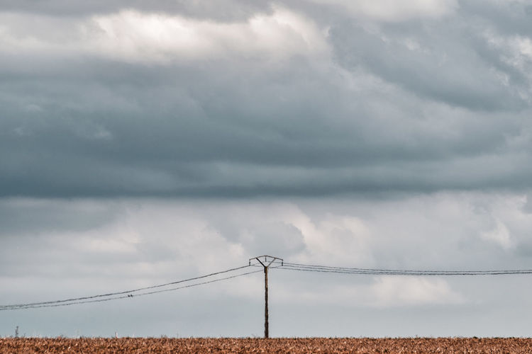 The summer heat made the air seem to flicker over this ominous, almost desolate scenery. The Traveler - 2018 EyeEm Awards Beauty In Nature Cable Cloud - Sky Connection Day Electricity  Electricity Pylon Environment Land Landscape Nature No People Ominous Outdoors Overcast Power Line  Power Supply Scenics - Nature Sky Storm Storm Cloud Technology Telephone Line The Great Outdoors - 2018 EyeEm Awards