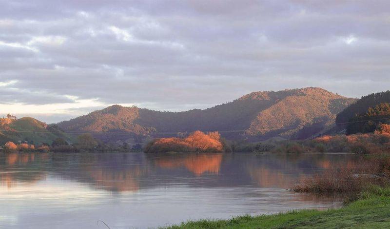Waikato River in Autumn Tree Water Autumn Mountain Lake Pastel Colored Sky Landscape Autumn Collection