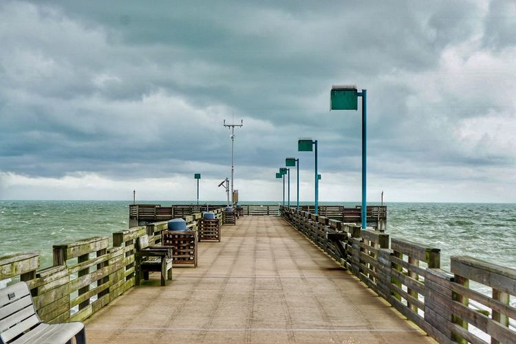 Pier Water Sea Sky Cloud - Sky Horizon Horizon Over Water Direction The Way Forward Nature Street Light Beauty In Nature Day Diminishing Perspective Pier Land Beach Scenics - Nature Footpath Outdoors No People