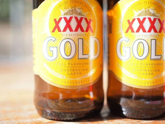 Australia Beer Lager Beer Refreshment XXXX Gold Booze Bottle Brand Close-up Drink Drinking Food And Drink Party Refreshment Summer Xxxx Beer